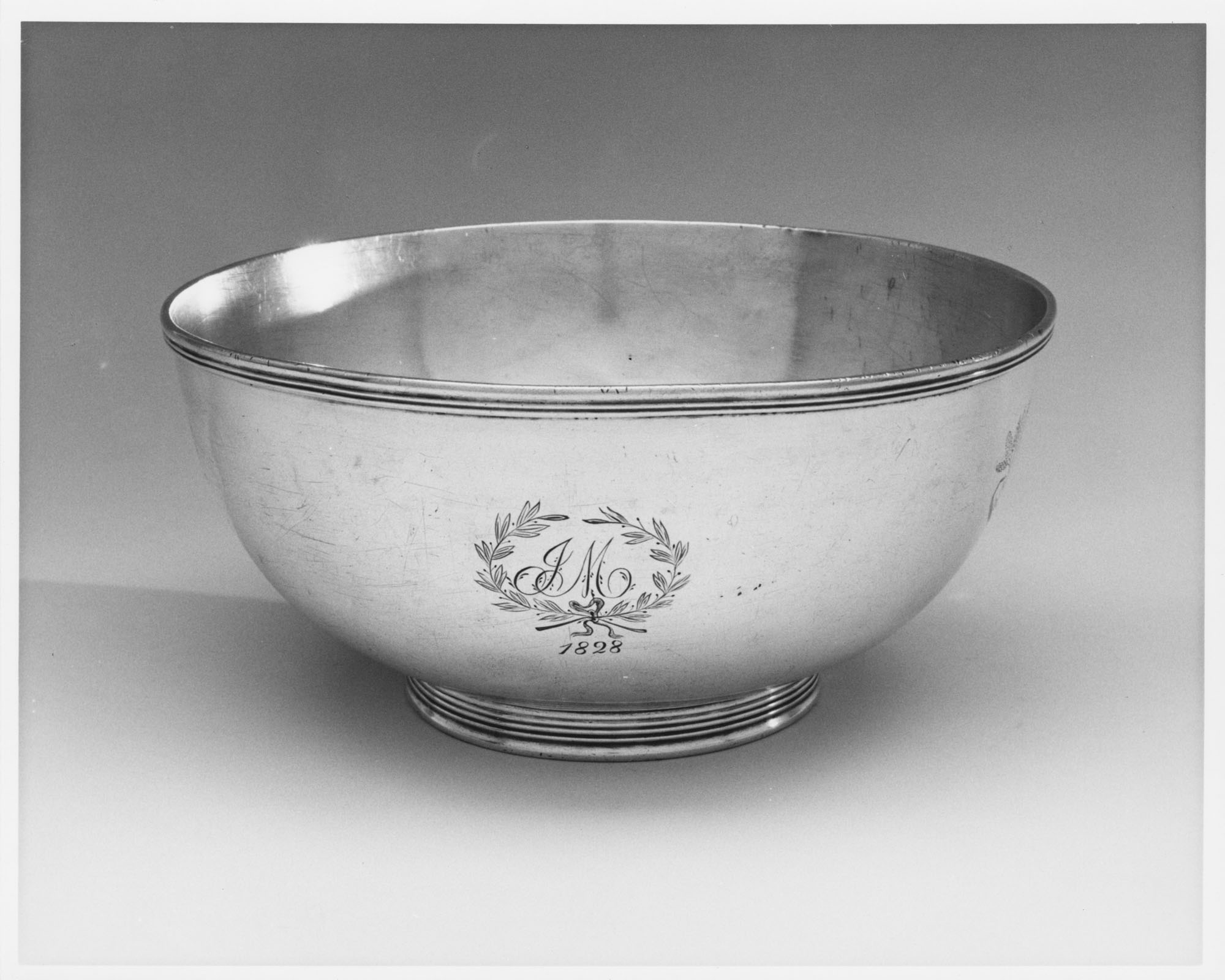 Punch Bowl with Engraved Laurel and Initials