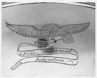Punch Bowl with an Engraved Bird Holding a Banner