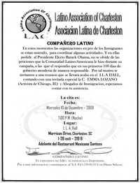Volante de la Asociación Latina de Charleston  /  Latino Association of Charleston Flyer