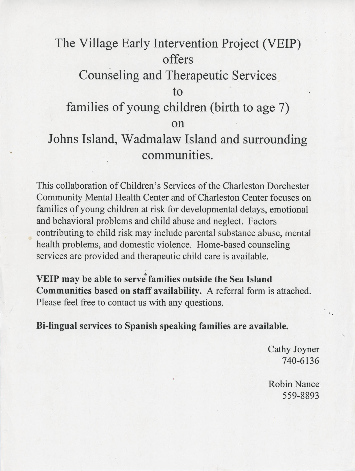 Volante de Village Early Intervention Project, Charleston Dorchester Community Mental Health Center  /  The Village Early Intervention Project Flyer, Charleston Dorchester Mental Health Center