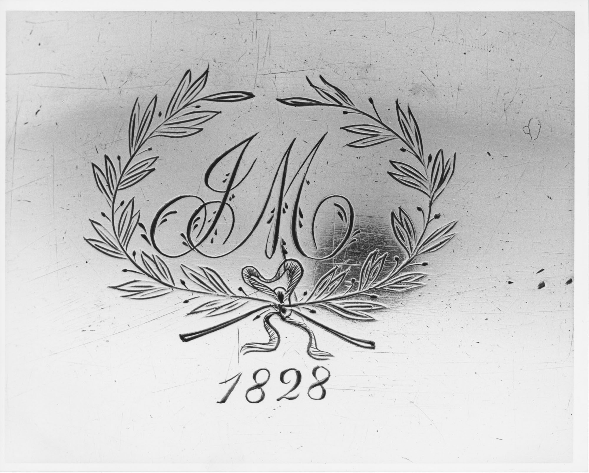 Close Up of the Punch Bowl with Engraved Laurel and Initials
