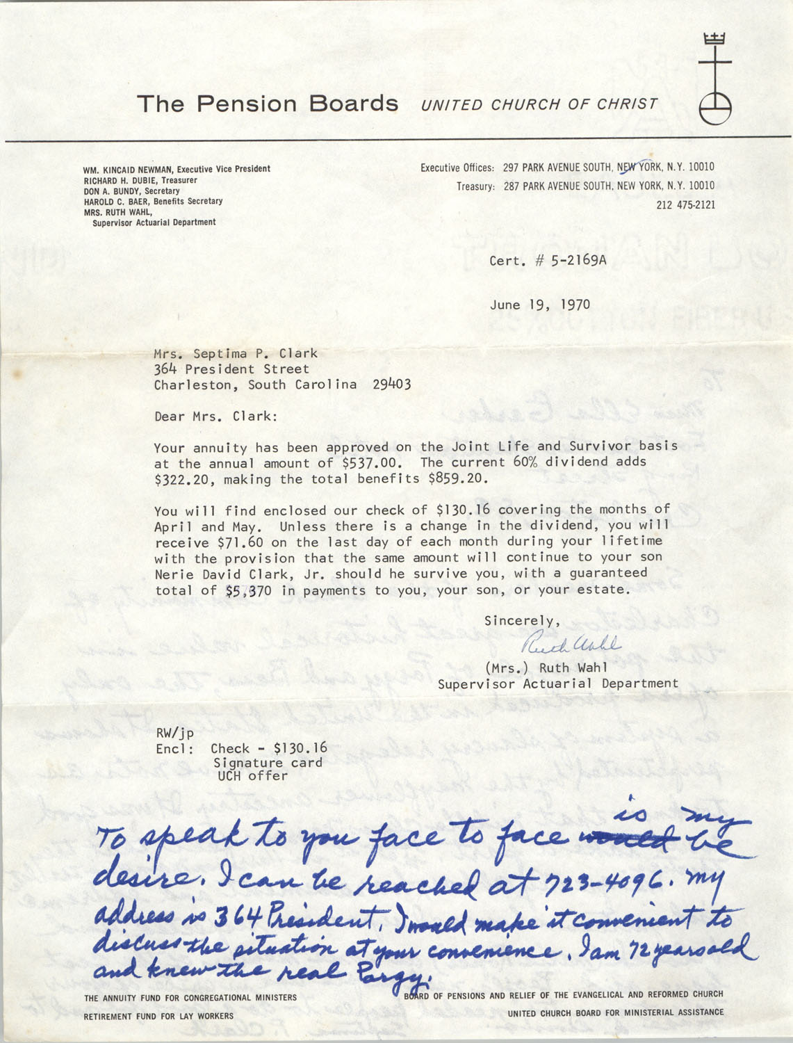 Draft of Letter from Septima Clark to Ella Gerber