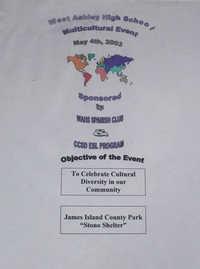 Volante de un evento multicultural organizado por West Ashley High School  /  Multicultural Event Flyer, West Ashley High School
