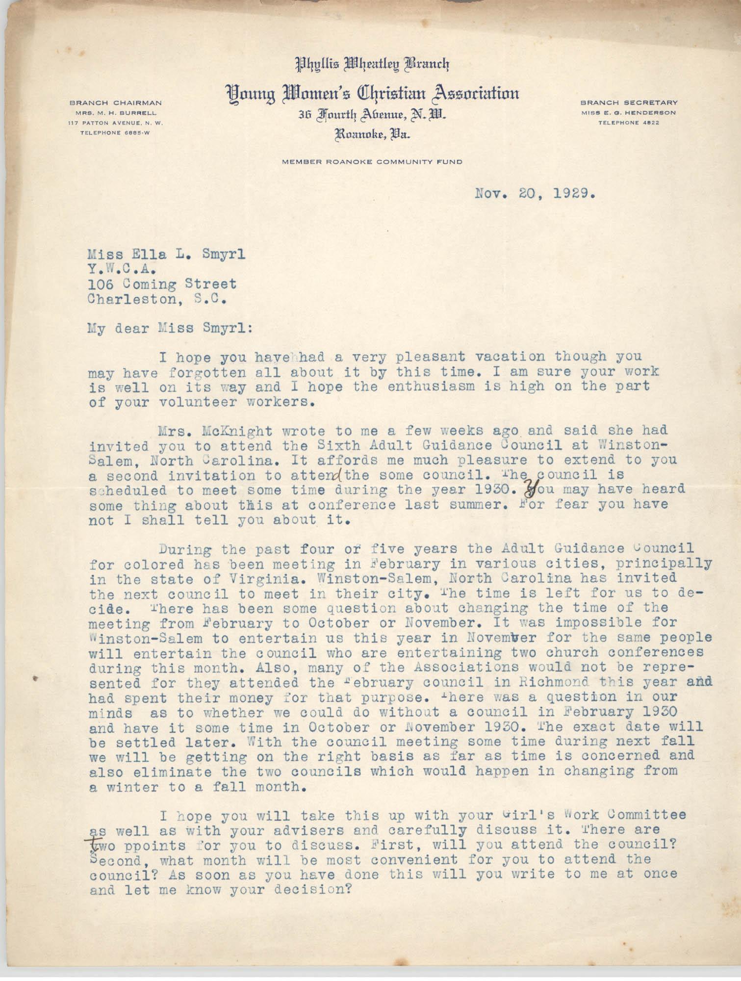 Letter from Y.W.C.A. to Ella L. Smyrl, November 20, 1929