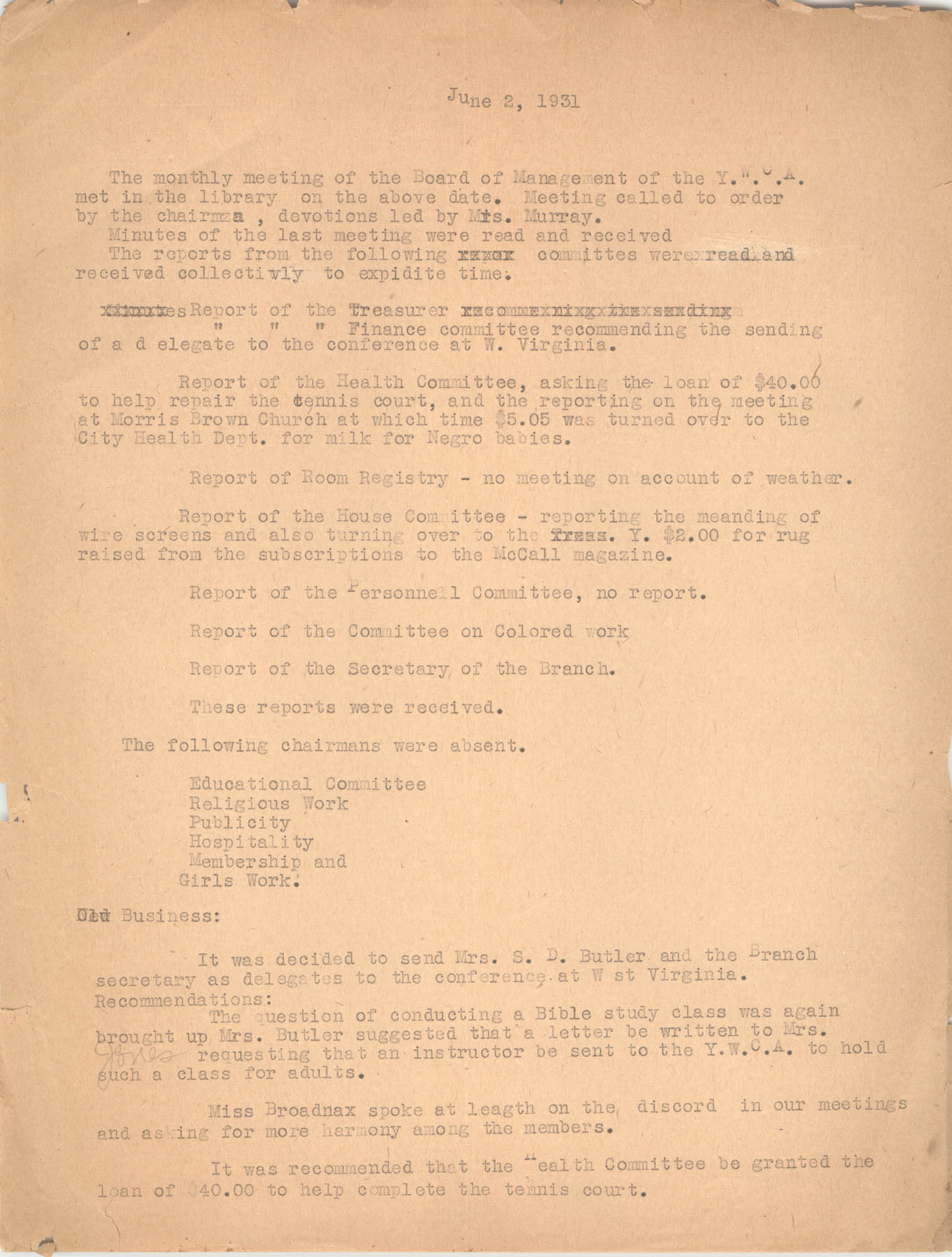 Minutes to the Board of Management, Coming Street Y.W.C.A., June 2, 1931