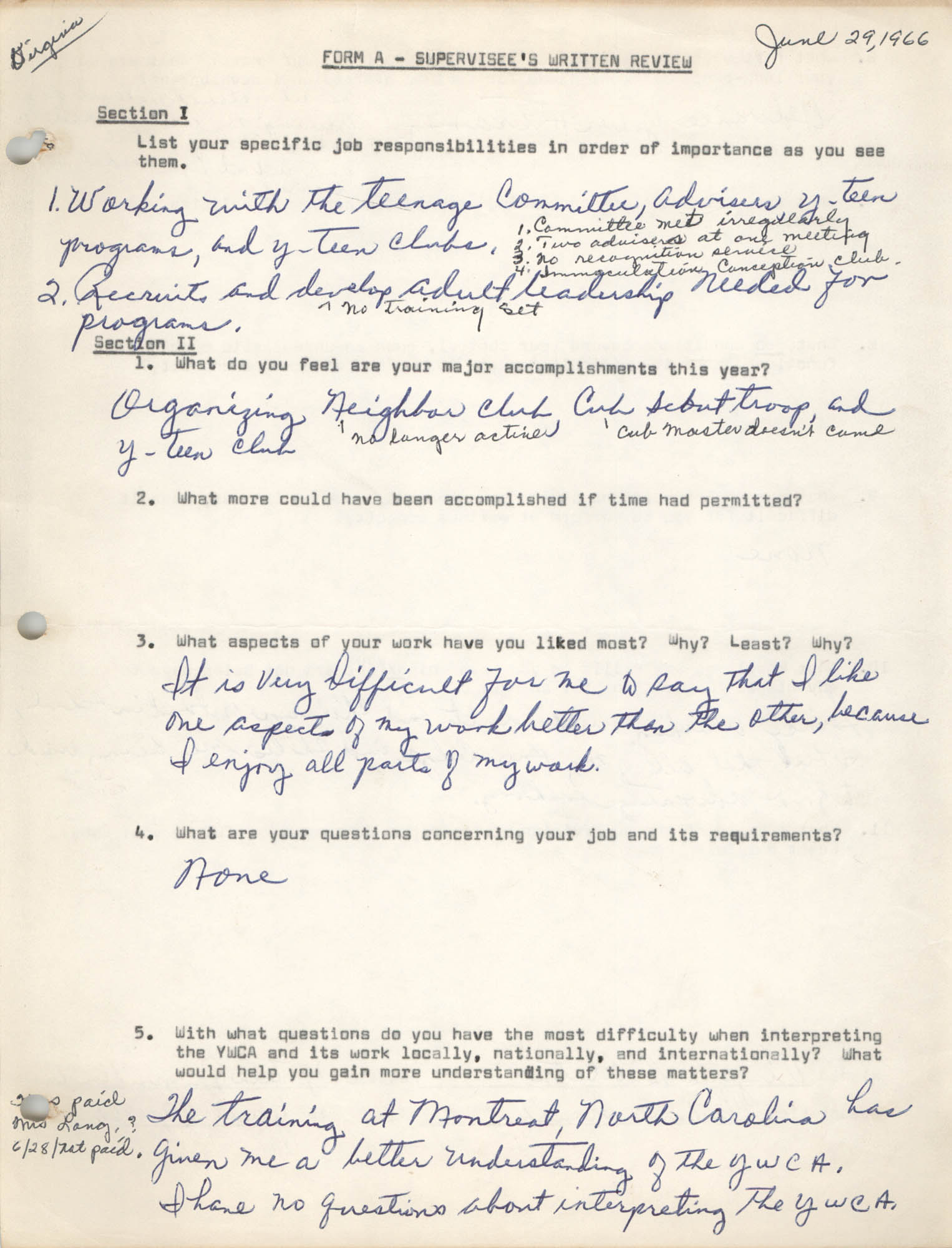 Form A –Supervisee's Written Review, June 29, 1966