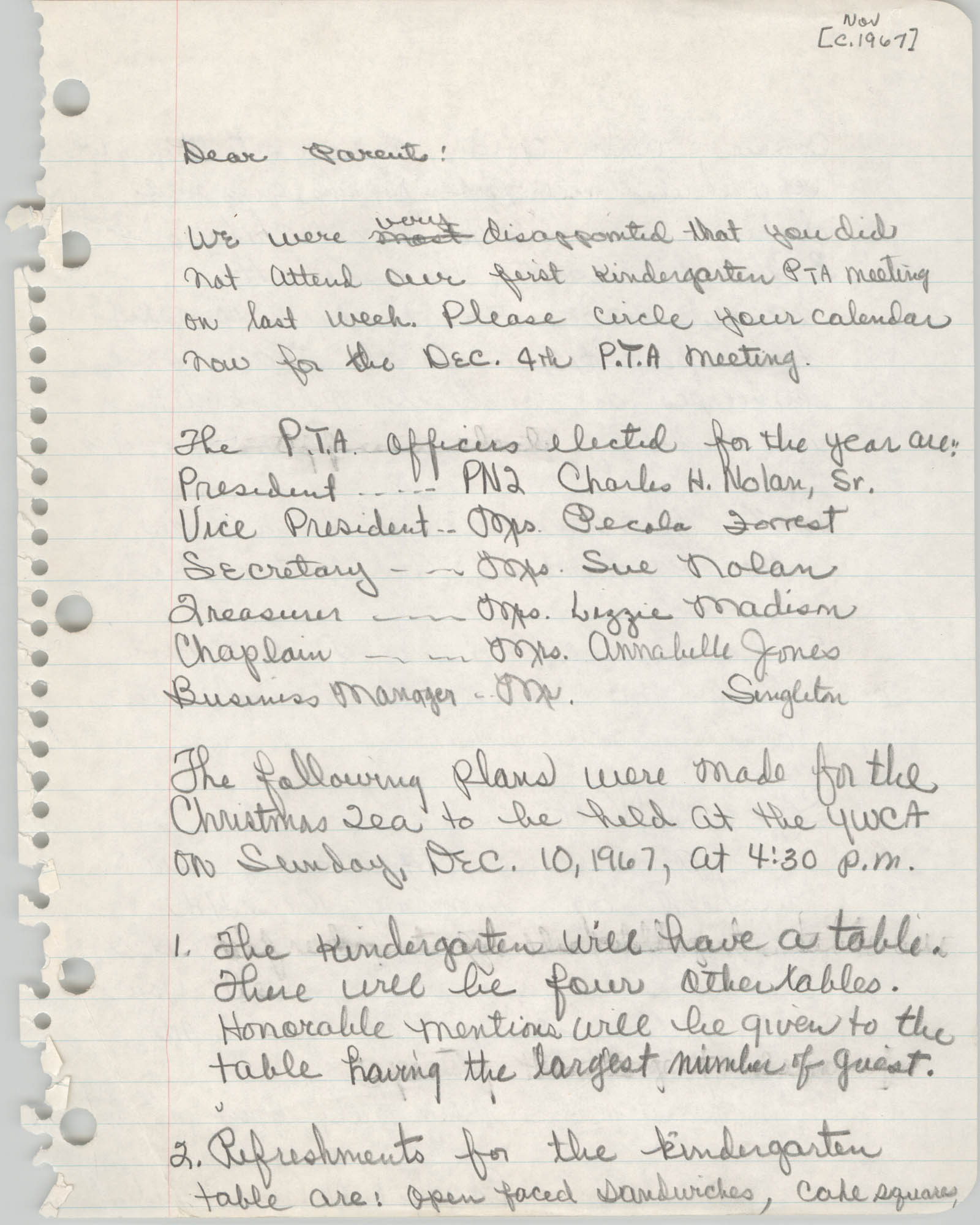 Letter from Charles H. Nolan to Parents, November 1967