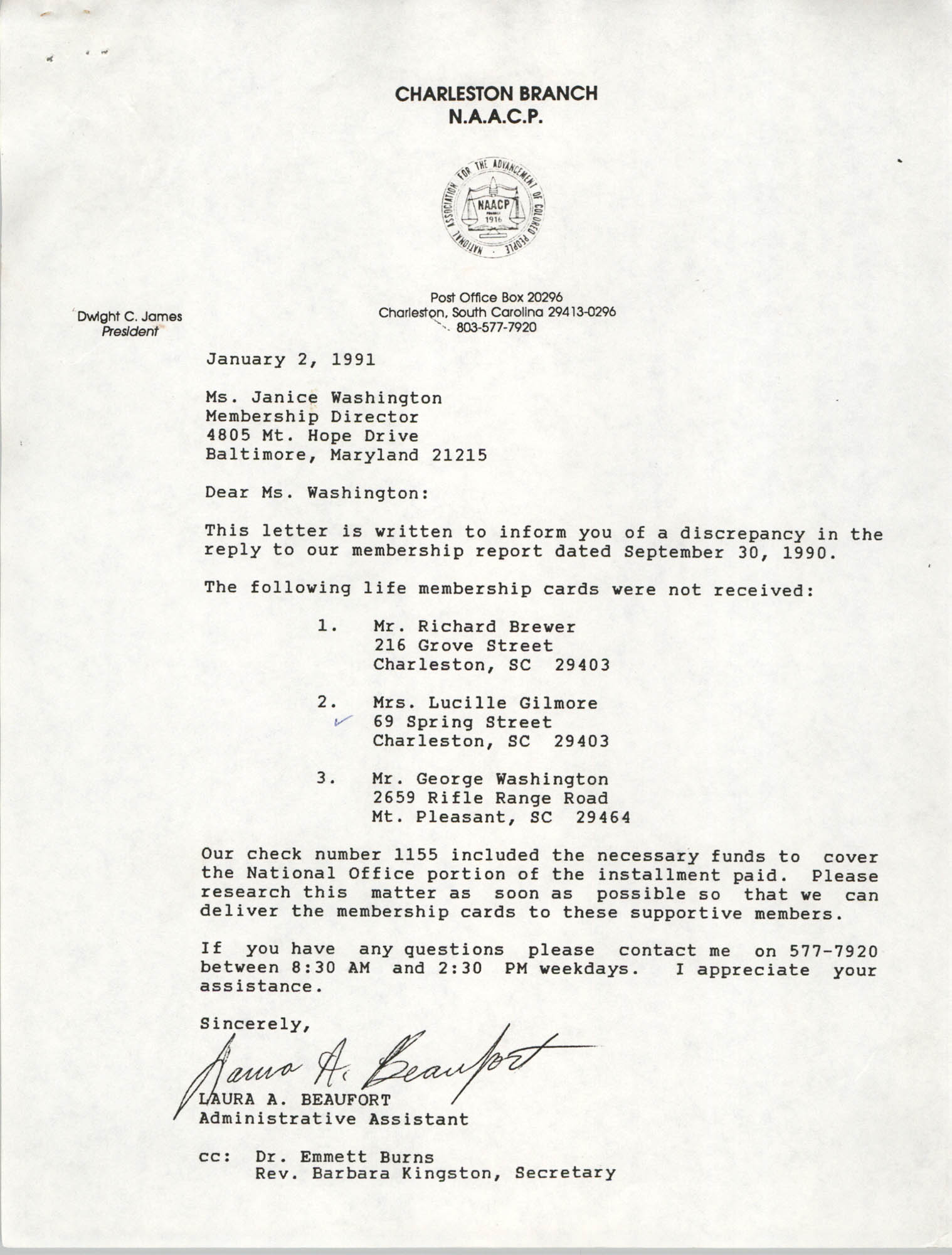 Letter from Laura A. Beaufort to Janice Washington, January 2, 1991