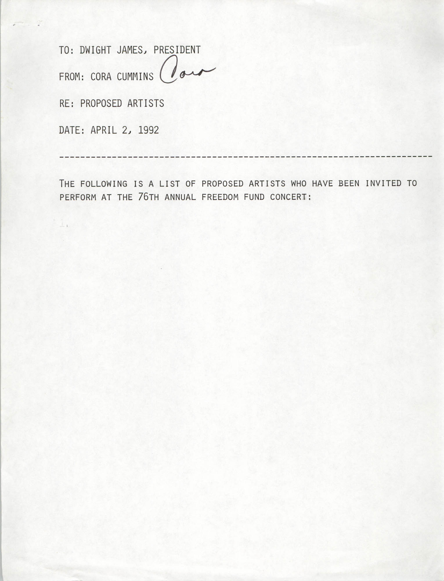 Cover Page, Cora Cummins to Dwight James, April 2, 1992