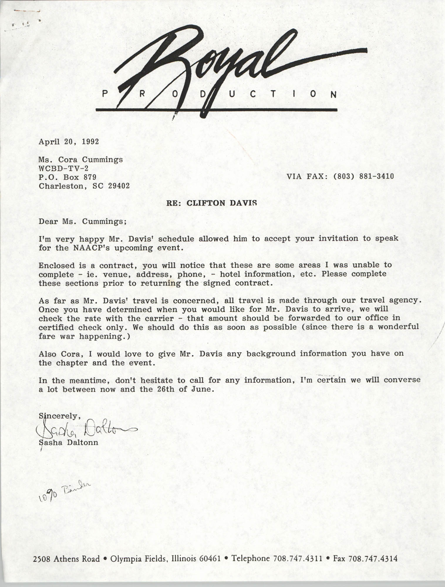 Letter from Sasha Daltonn to Cora Cummings, April 20, 1992