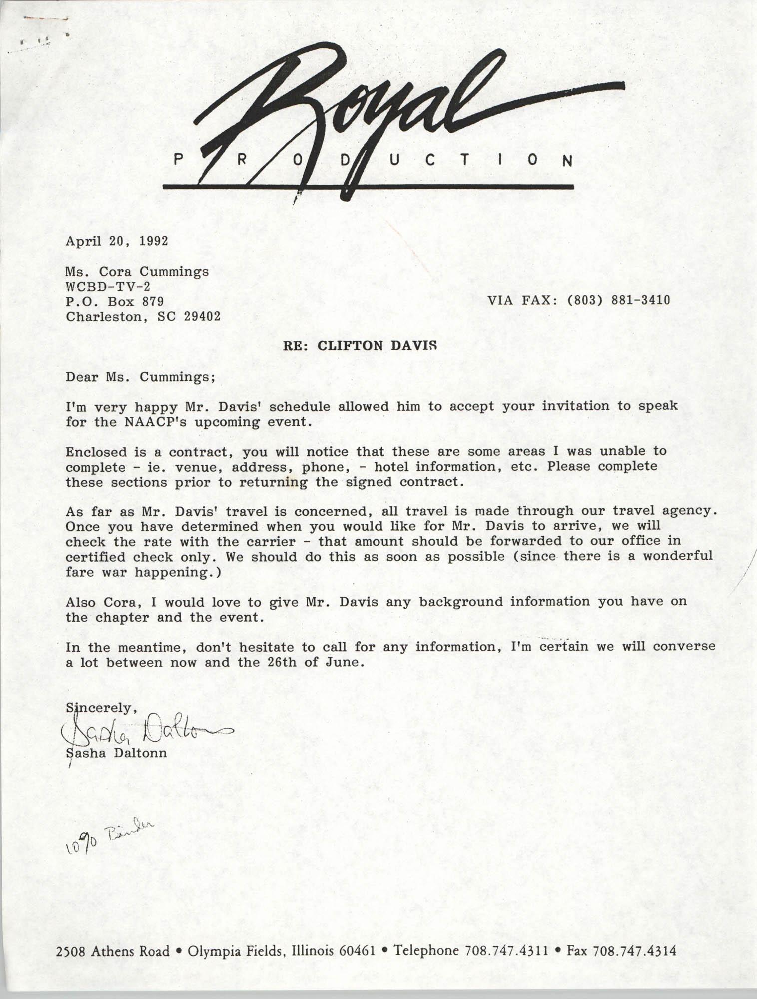 Letter from Sasha Daltonn to Cora Cummings, April 20, 1992