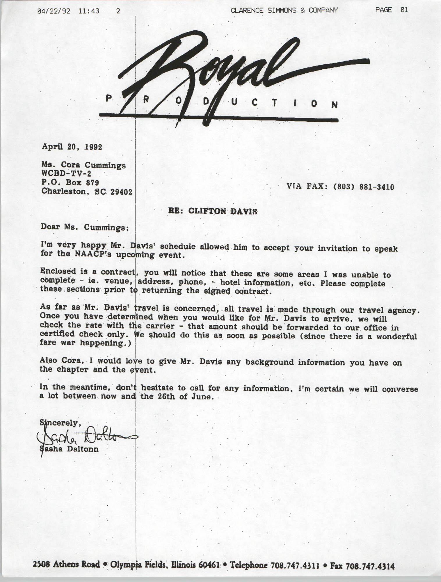 Letter from Sasha Dalton to Cora Cummings, April 20, 1992