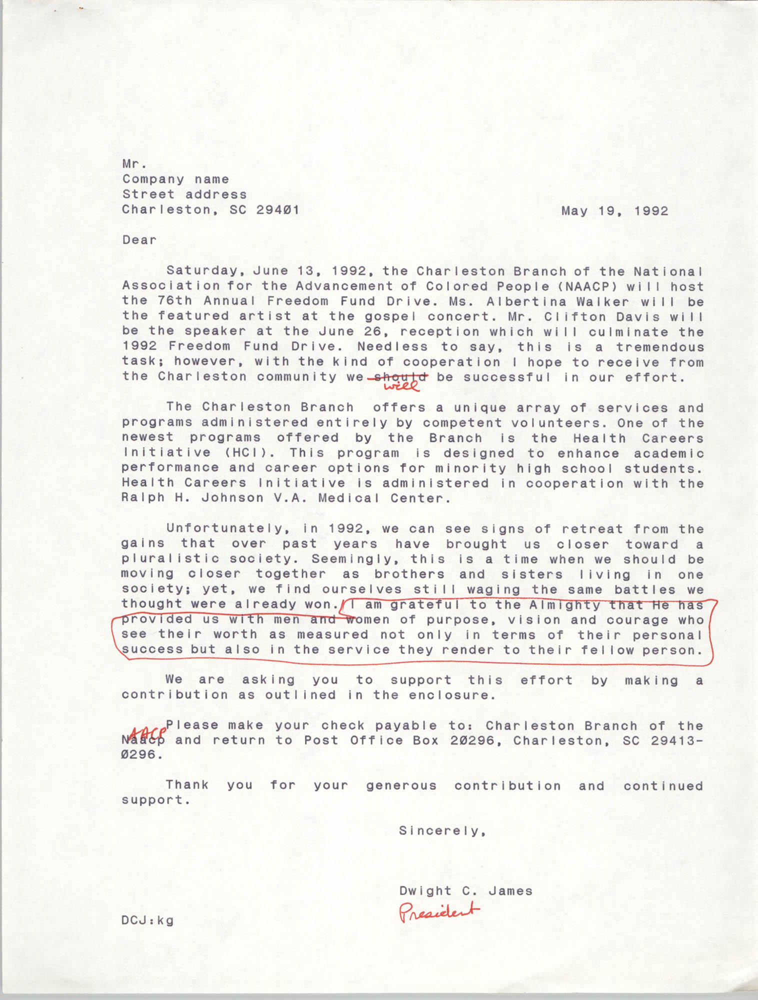 Draft, Contribution Letter, Dwight C. James, May 19, 1992
