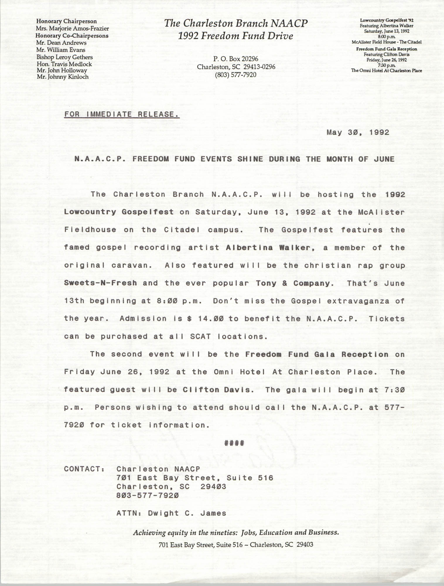 Press Release, NAACP Freedom, Fund Events, May 30, 1992