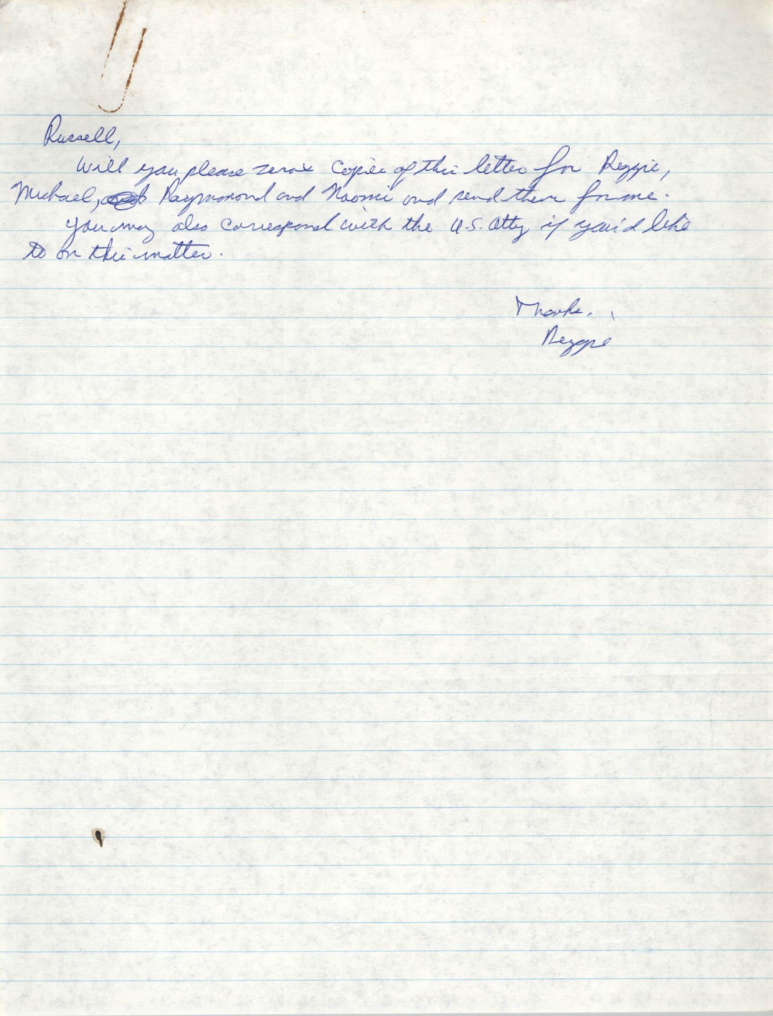 Handwritten letter from Reginald C. Barrett Jr. to Russell Brown
