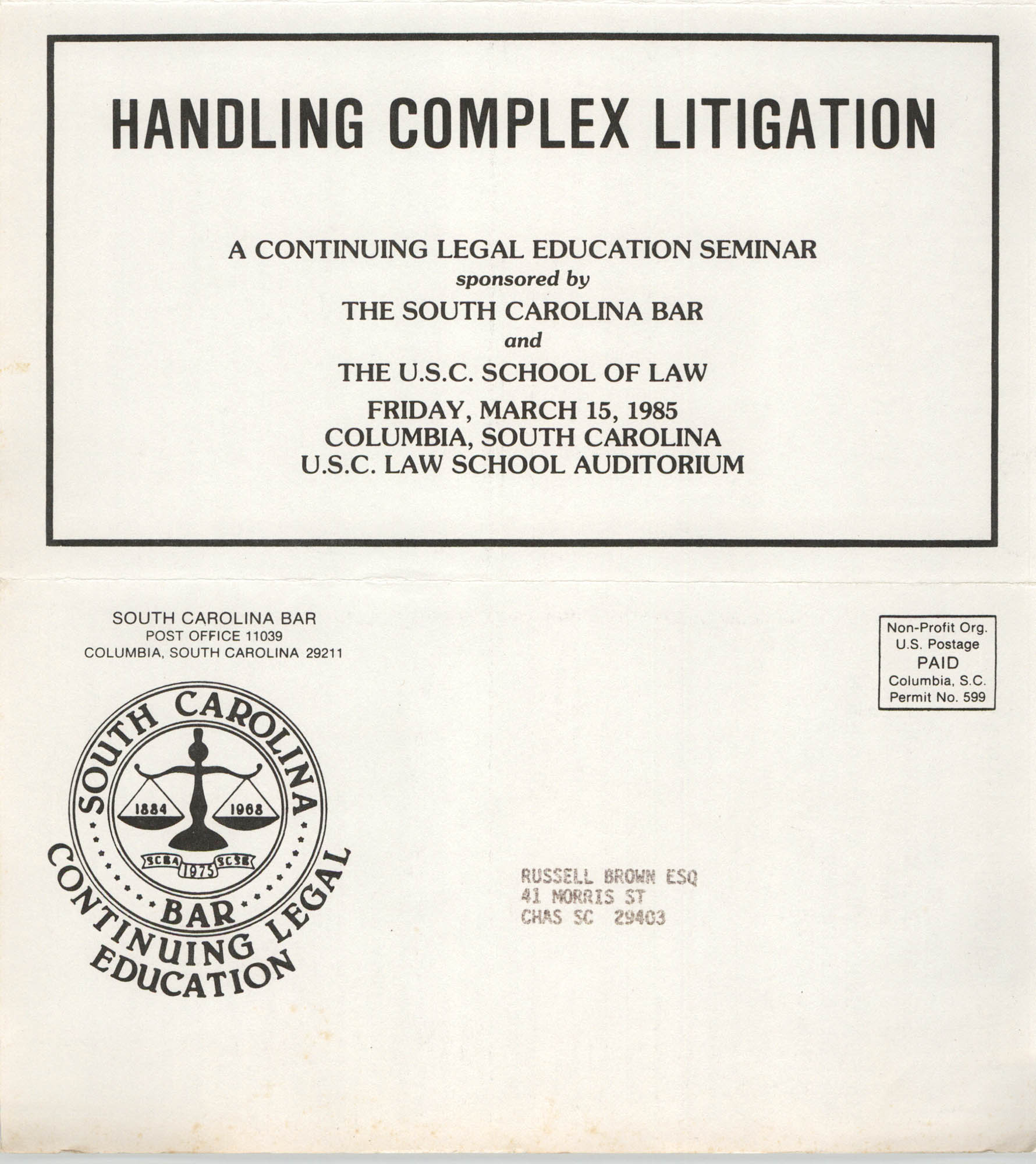 Handling Complex Litigation, Continuing Legal Education Seminar Pamphlet, March 15, 1985, Russell Brown