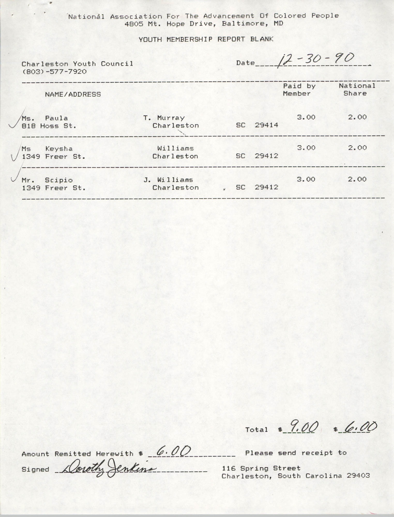 Youth Membership Report Blank, Charleston Youth Council, NAACP, December 30, 1990