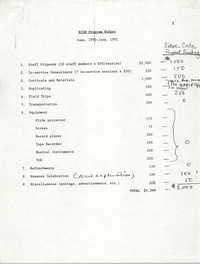 RICH Program Budget, June 1990-June 1991