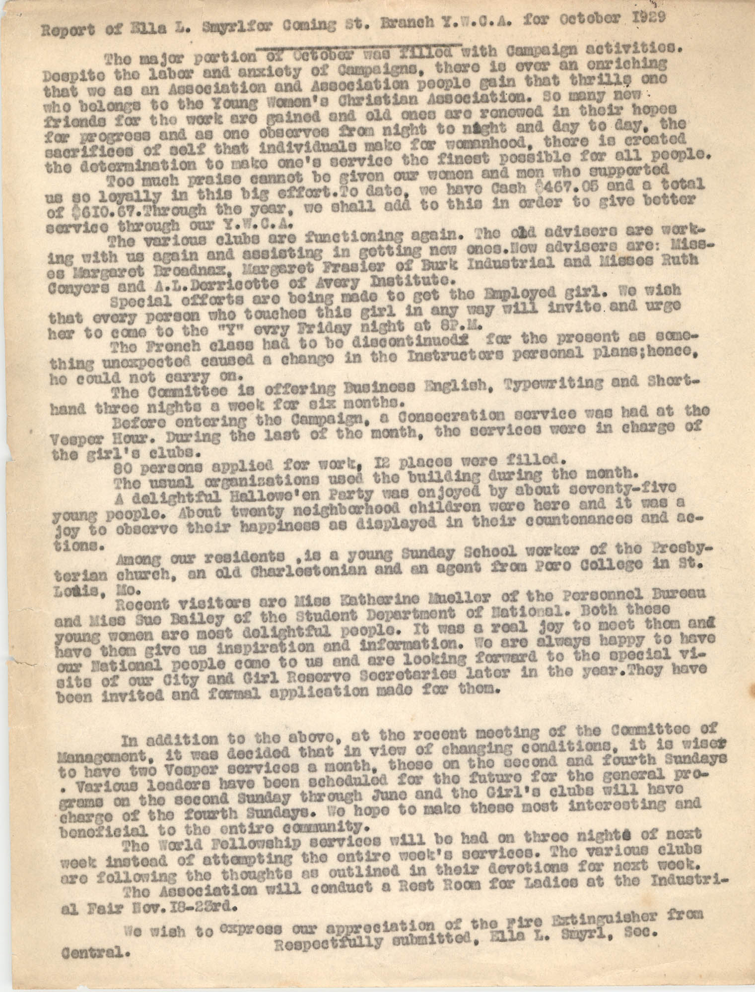 Monthly Report for the Coming Street Y.W.C.A., October 1929