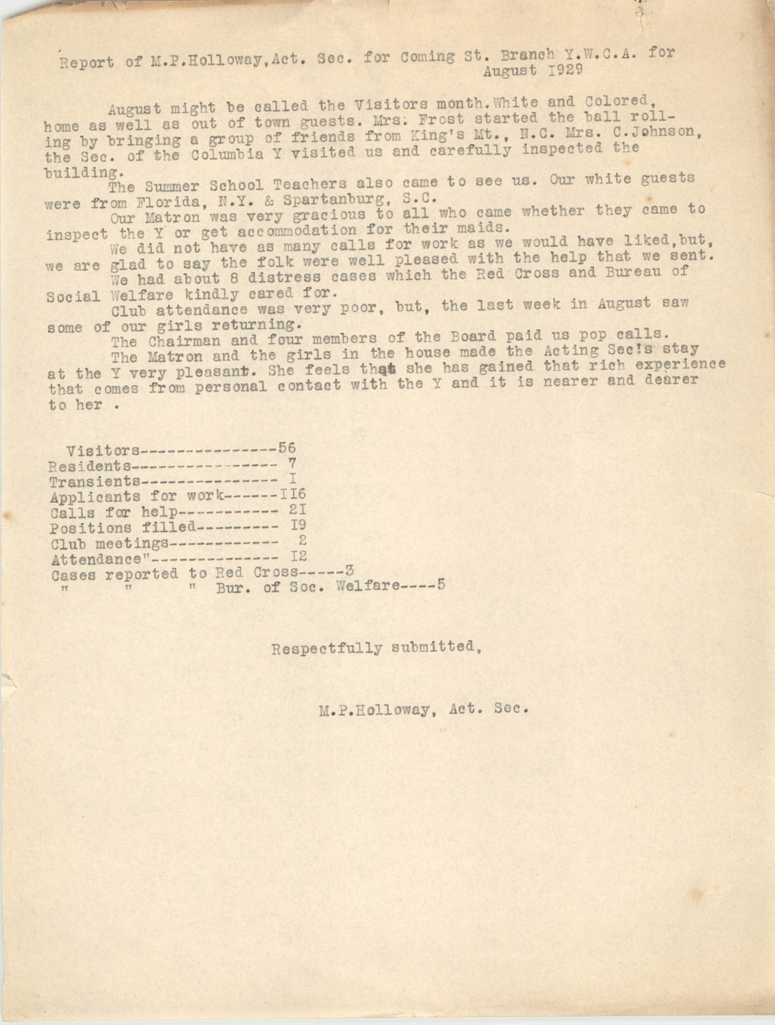 Monthly Report for the Coming Street Y.W.C.A., August 1929