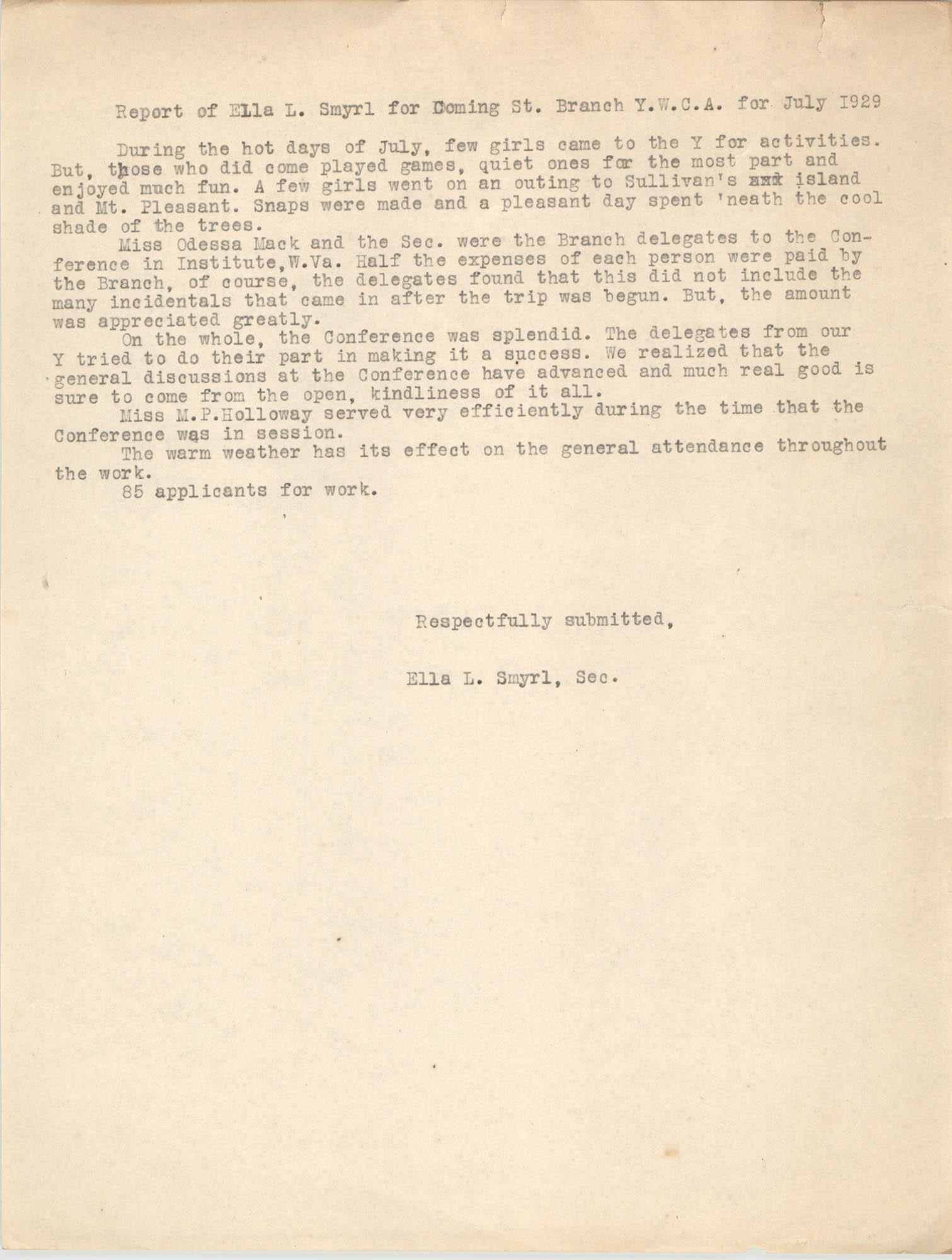Monthly Report for the Coming Street Y.W.C.A., July 1929