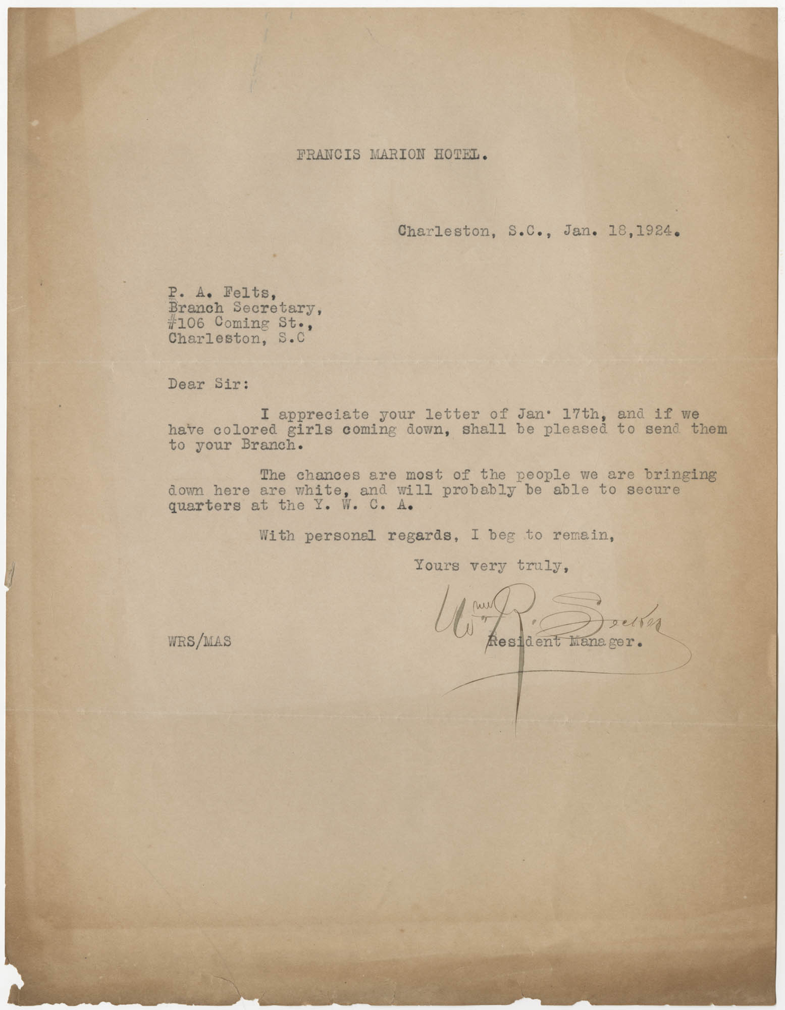 Letter to P. A. Felts, January 18, 1924