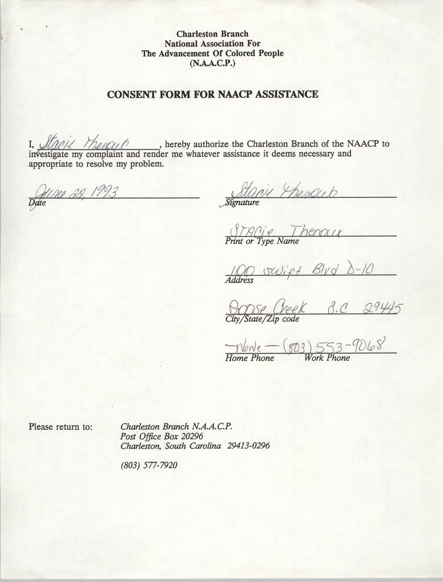 Consent Form for NAACP Assistance Signed by Stacie Theroux, June 28, 1993