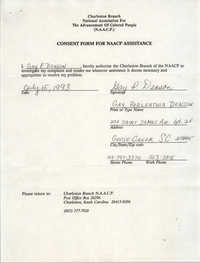 Consent Form for NAACP Assistance Signed by Gay P. Deson, July 15, 1993