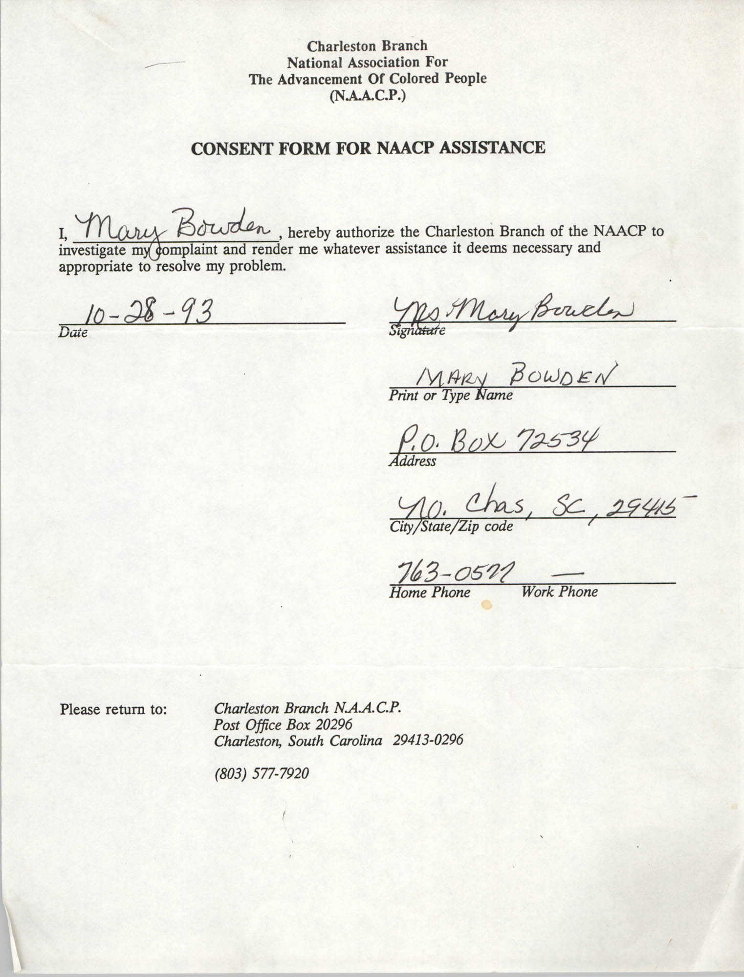 Consent Form for NAACP Assistance Signed by Mary Bowden, October 28, 1993