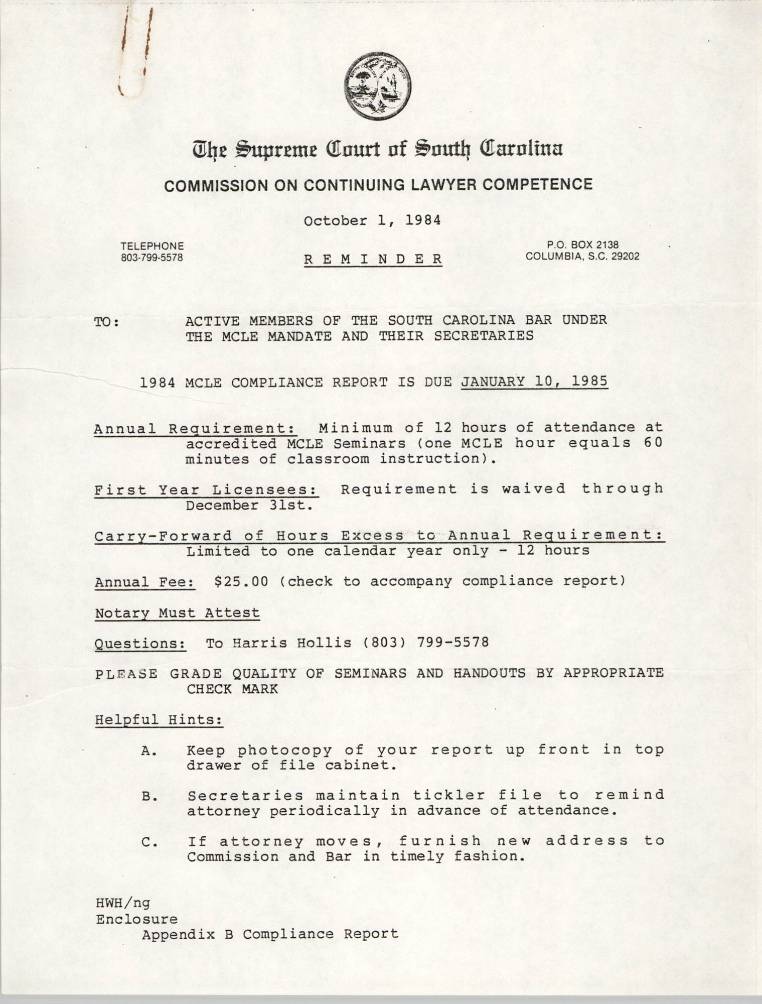 The Supreme Court of South Carolina, Commission on Continuing Lawyer Competence, Report of Compliance, 1984