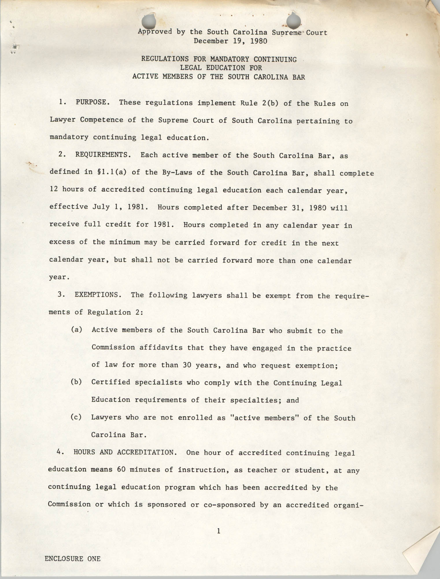 Regulations for Mandatory Continuing  Legal Education for Active Members of the South Carolina Bar, South Carolina Supreme Court, December 19, 1980