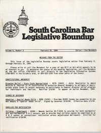 South Carolina Bar Legislative Roundup, Vol. 6 No. 3, February 22, 1984
