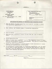 Application for Approval of Continuing Legal Education, South Carolina Commission on Continuing Lawyer Competence, 1981