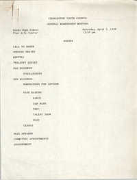 Agenda, General Membership Meeting, Charleston Youth Council, April 7, 1990