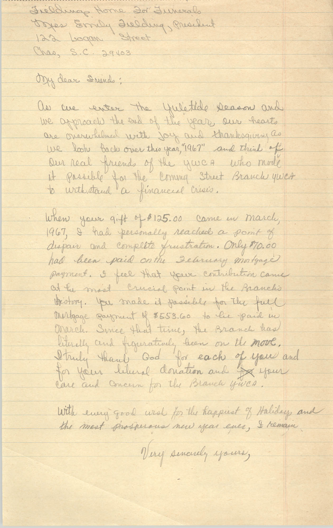Letter to Fieldings Home for Funerals, 1967