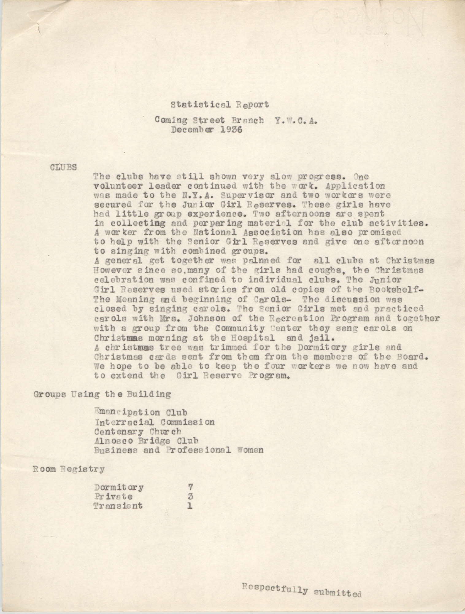 Monthly Report for the Coming Street Y.W.C.A., December 1936