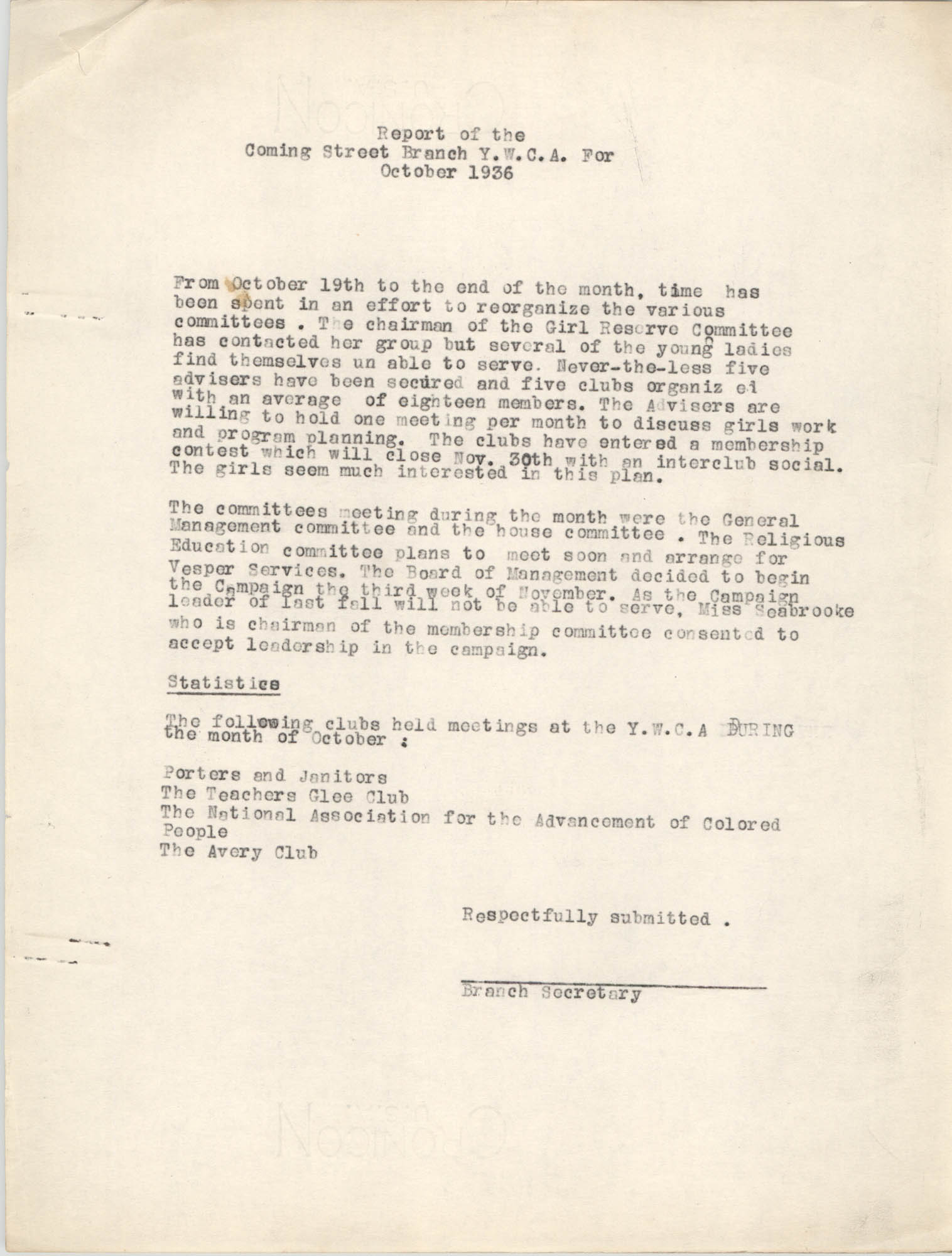 Monthly Report for the Coming Street Y.W.C.A., October 1936