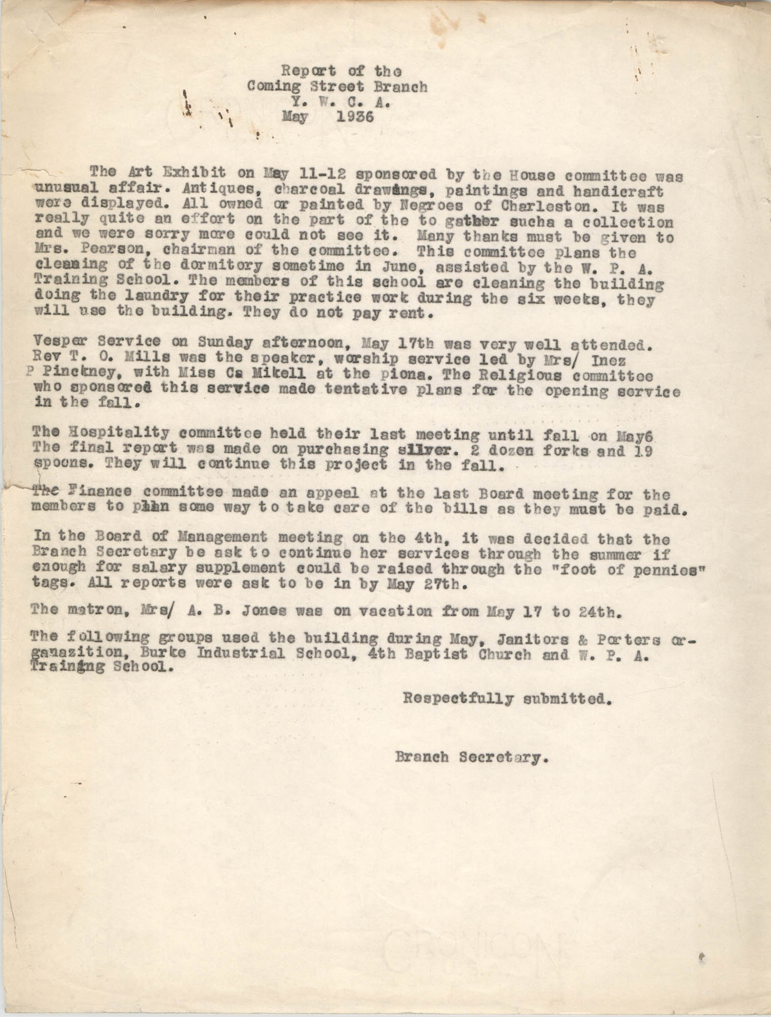 Monthly Report for the Coming Street Y.W.C.A., May 1936
