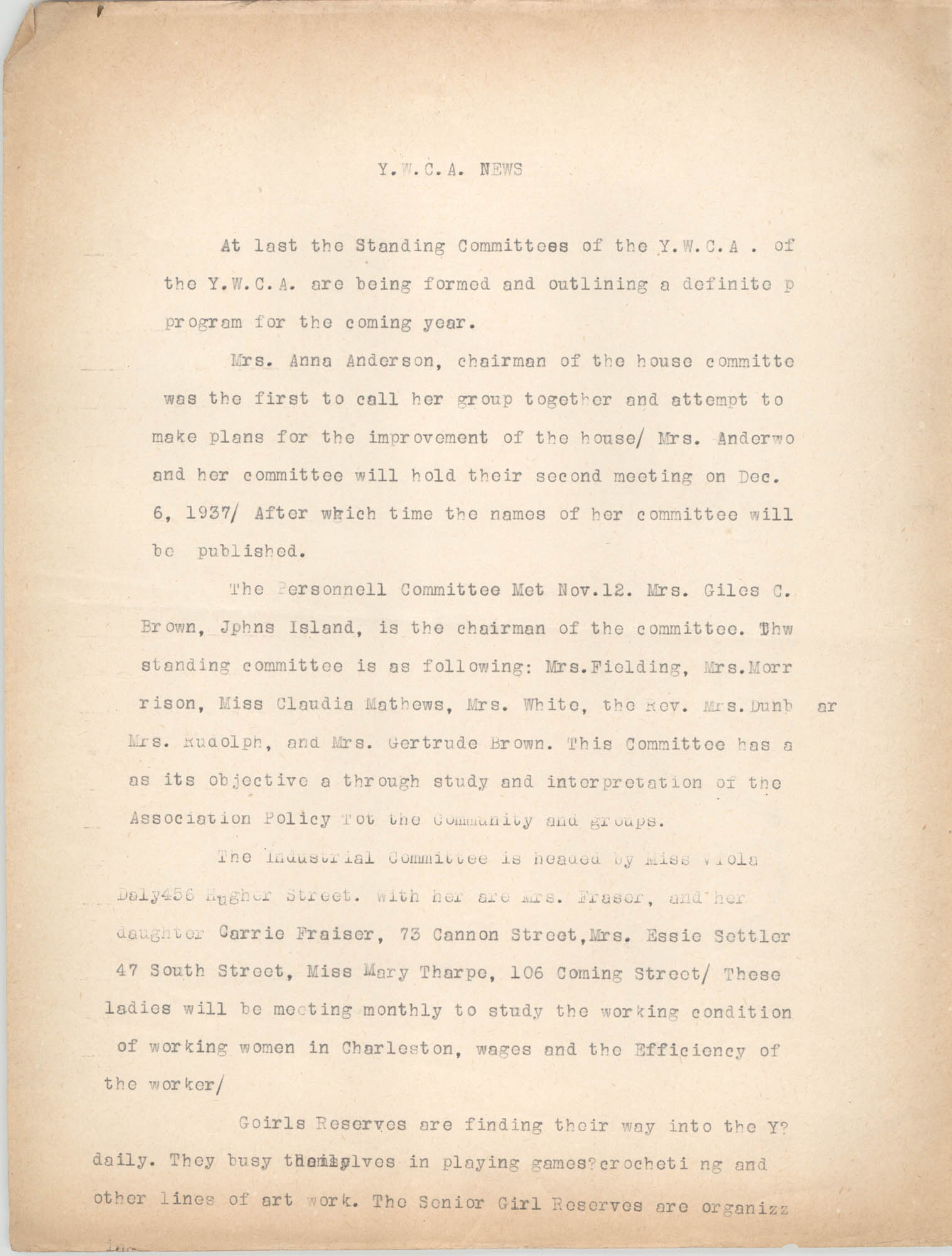 Y.W.C.A. News, 1937