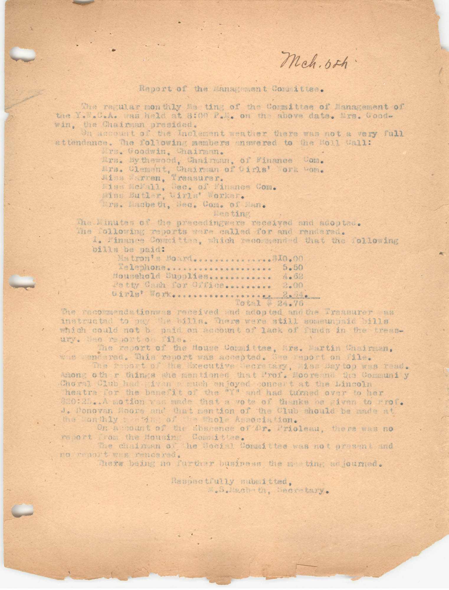 Report of the Management Committee, Coming Street Y.W.C.A.