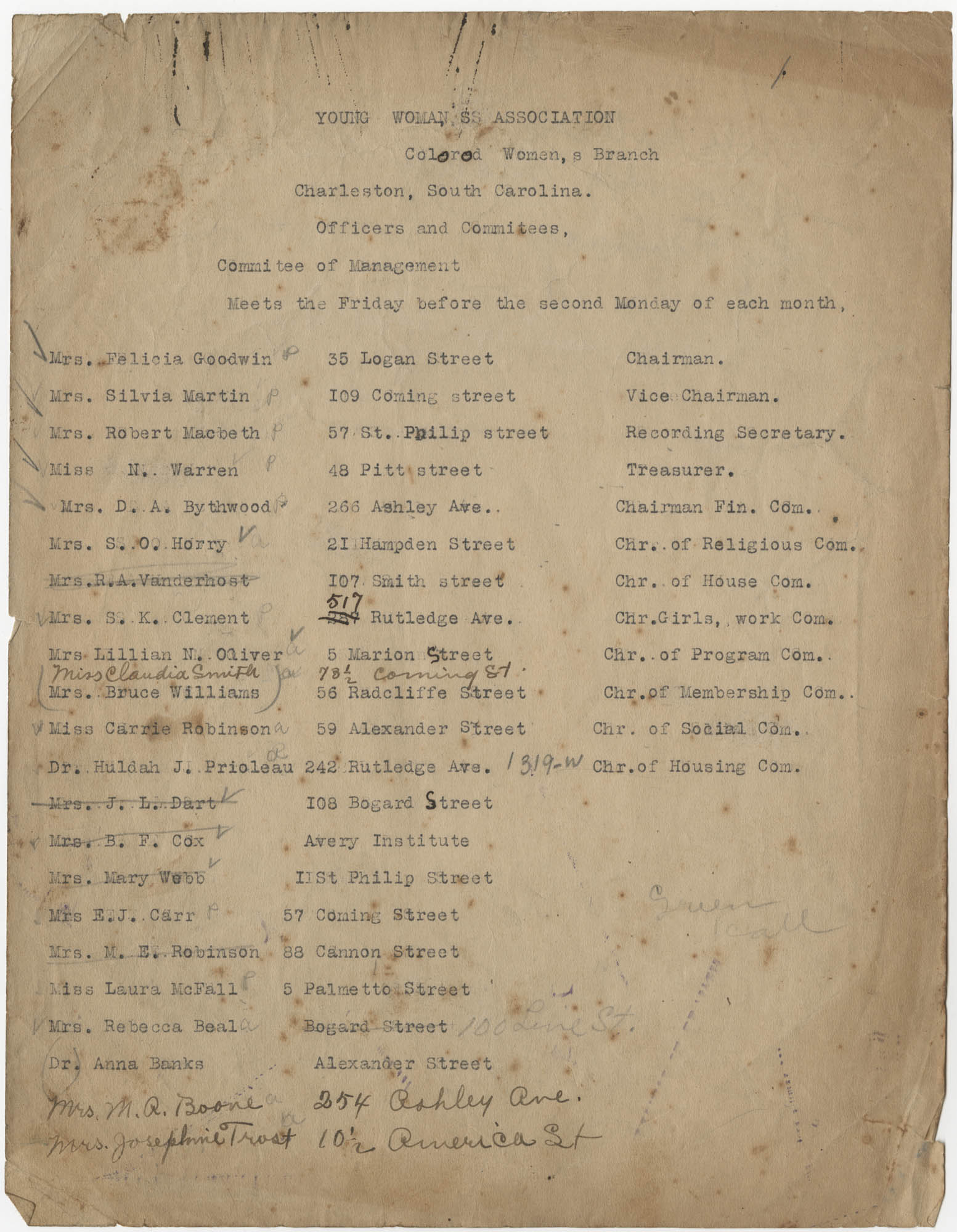 Coming Street Y.W.C.A. Officers and Committee List