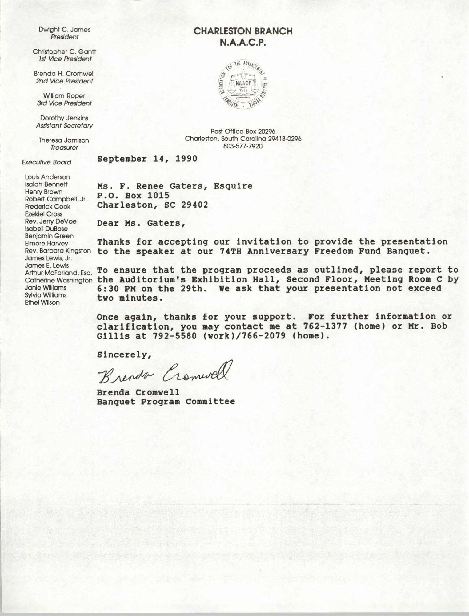 Letter from Brenda Cromwell to F. Renee Gaters, September 14, 1990