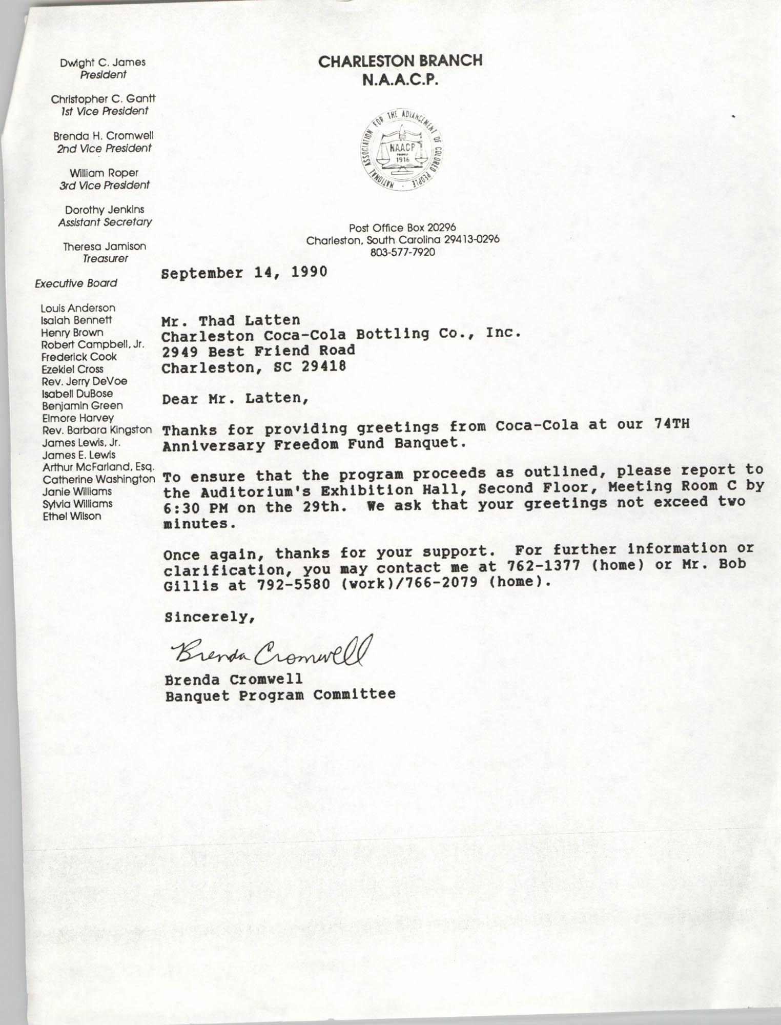 Letter from Brenda Cromwell to Thad Latten, September 14, 1990
