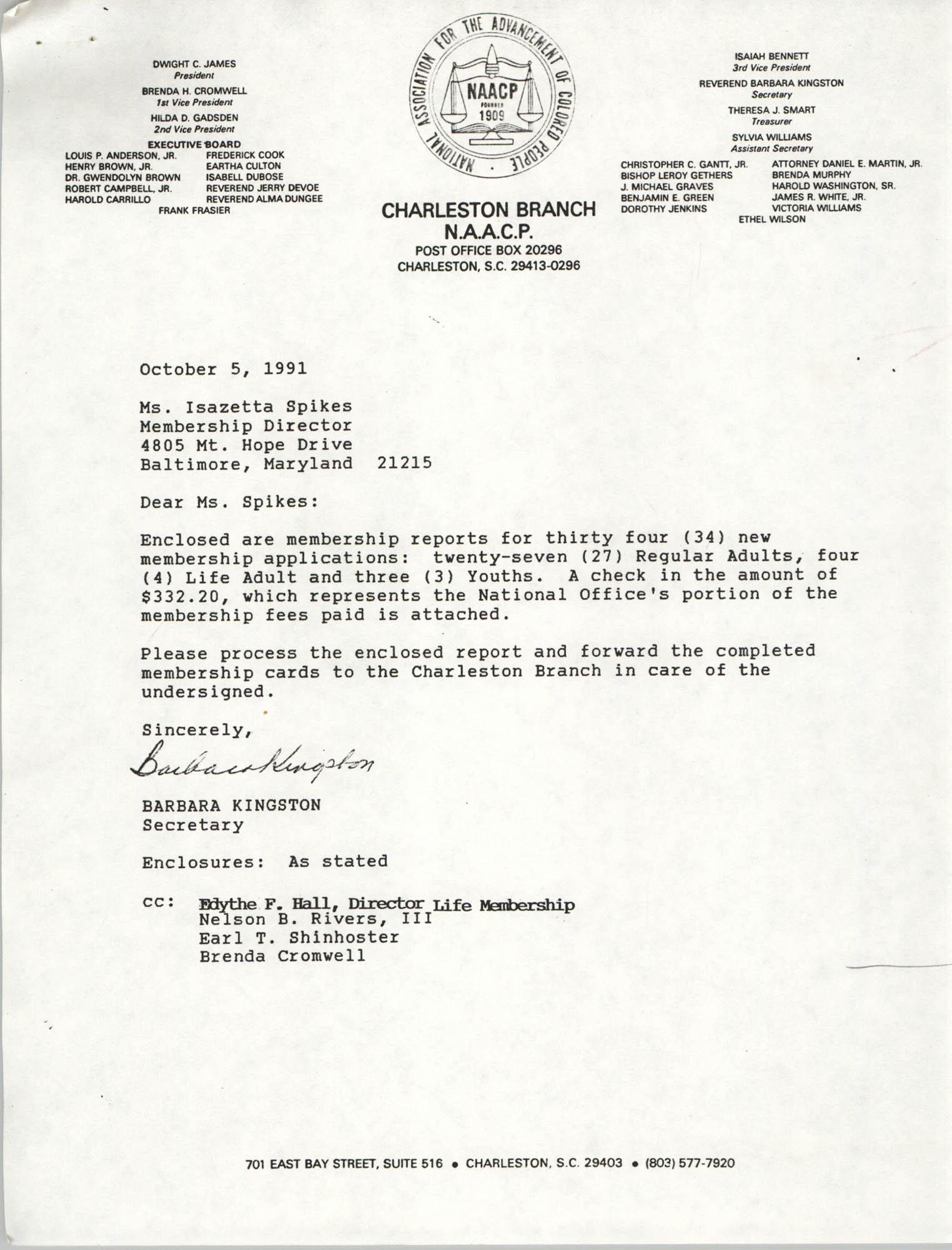 Letter from Barbara Kingston to Isazetta Spikes, October 5, 1991