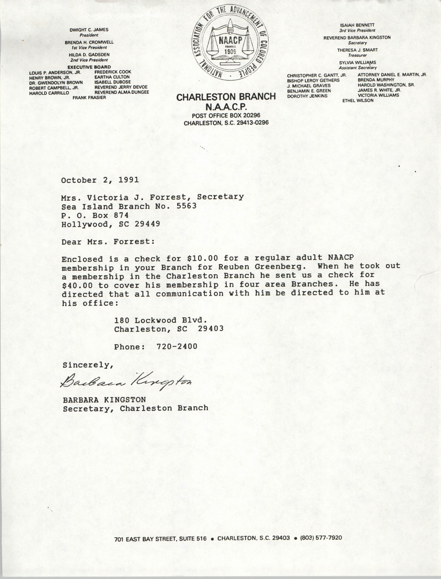 Letter from Barbara Kingston to Victoria J. Forrest, October 2, 1991