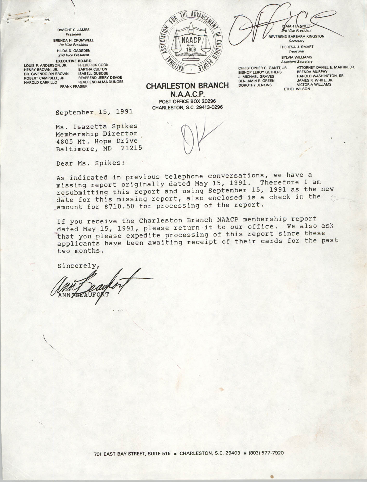 Letter from Ann Beaufort to Isazetta Spikes, September 15, 1991