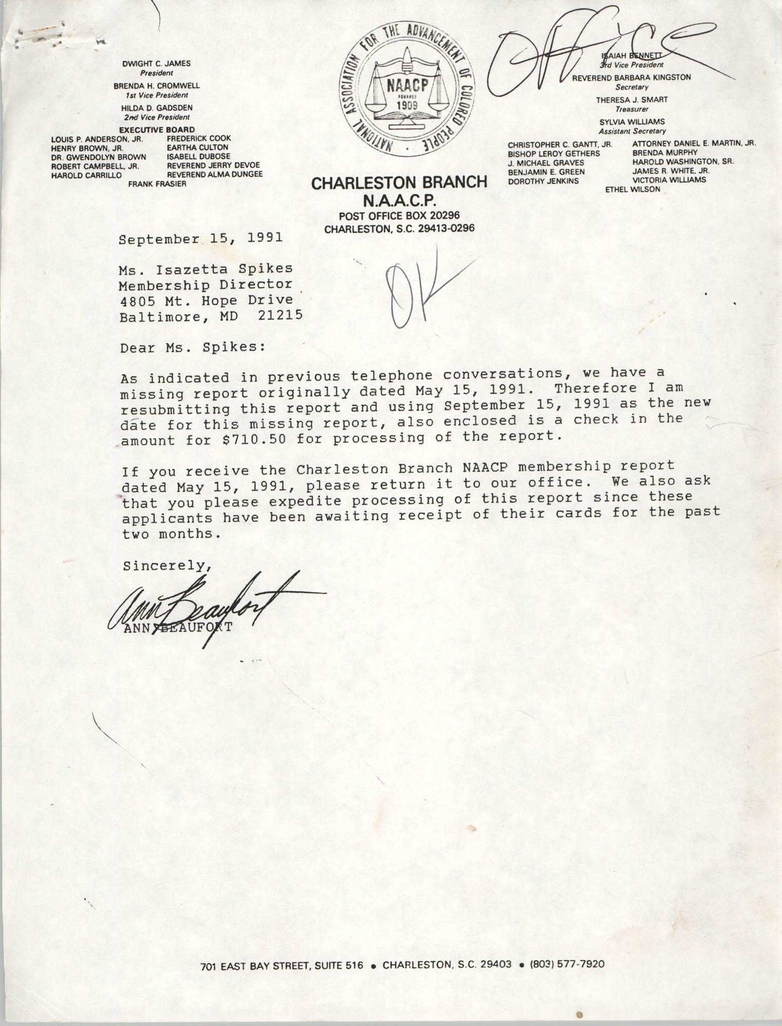Letter from Ann Beaufort to Isazetta Spikes, September 15, 1991