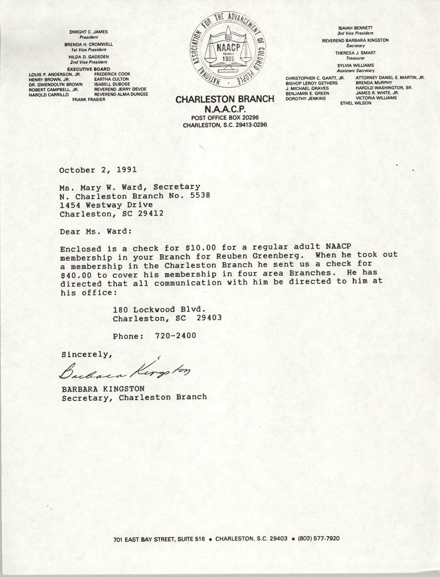 Letter from Barbara Kingston to Mary W. Ward, October 2, 1991