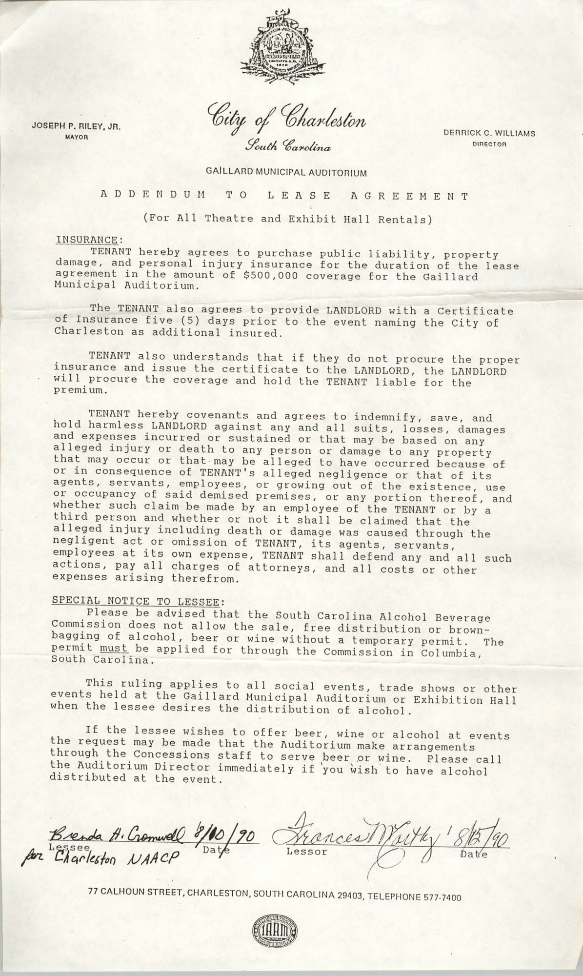 Addendum to Lease Agreement, Gaillard Municipal Auditorium, Charleston Branch of the NAACP, August 1990