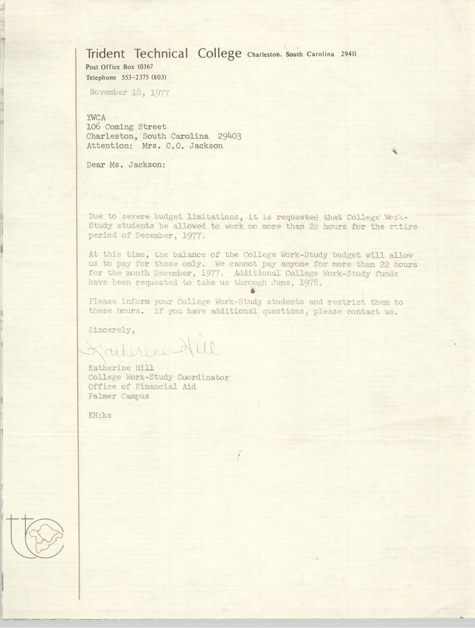 Letter from Katherine Hill to Christine O. Jackson, November 18, 1977